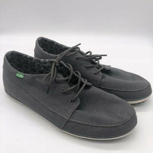 Sanuk Gray Canvas Lace Up Sneakers Rubber Foot Bed